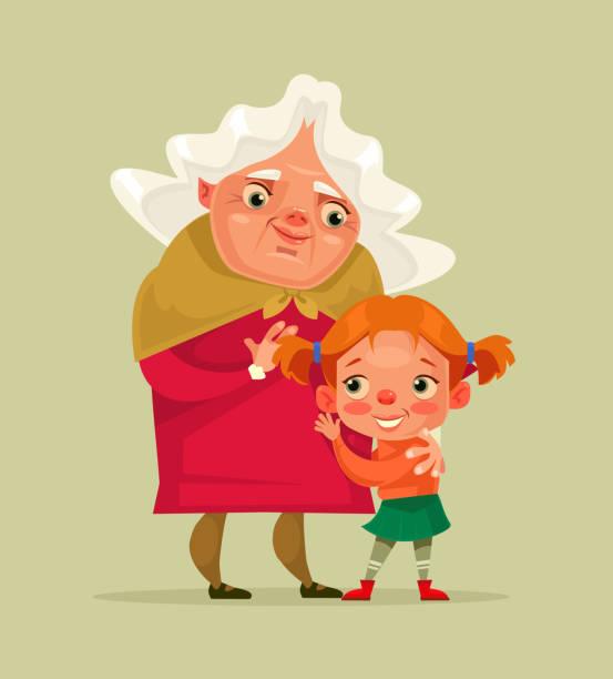 ilustraciones, imágenes clip art, dibujos animados e iconos de stock de happy sonriente caracteres de abuela y nieta - nieta