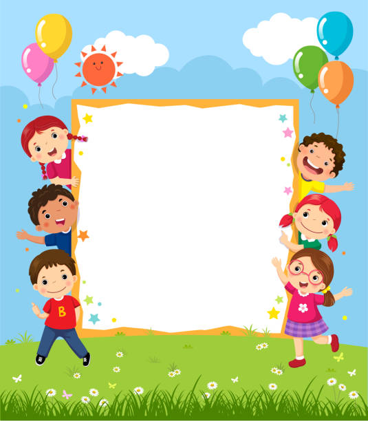happy smiling group of kids showing blank board - book clipart stock illustrations