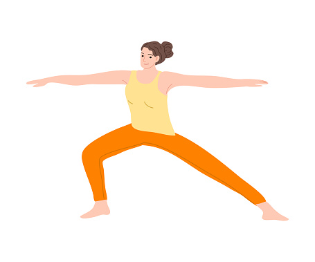 Happy smiling gymnast girl in orange pants shows exercise. Vector illustration in the flat cartoon style