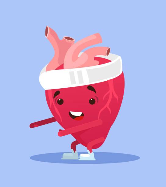 ilustrações, clipart, desenhos animados e ícones de feliz sorrindo coração saudável exercício de caráter - colesterol