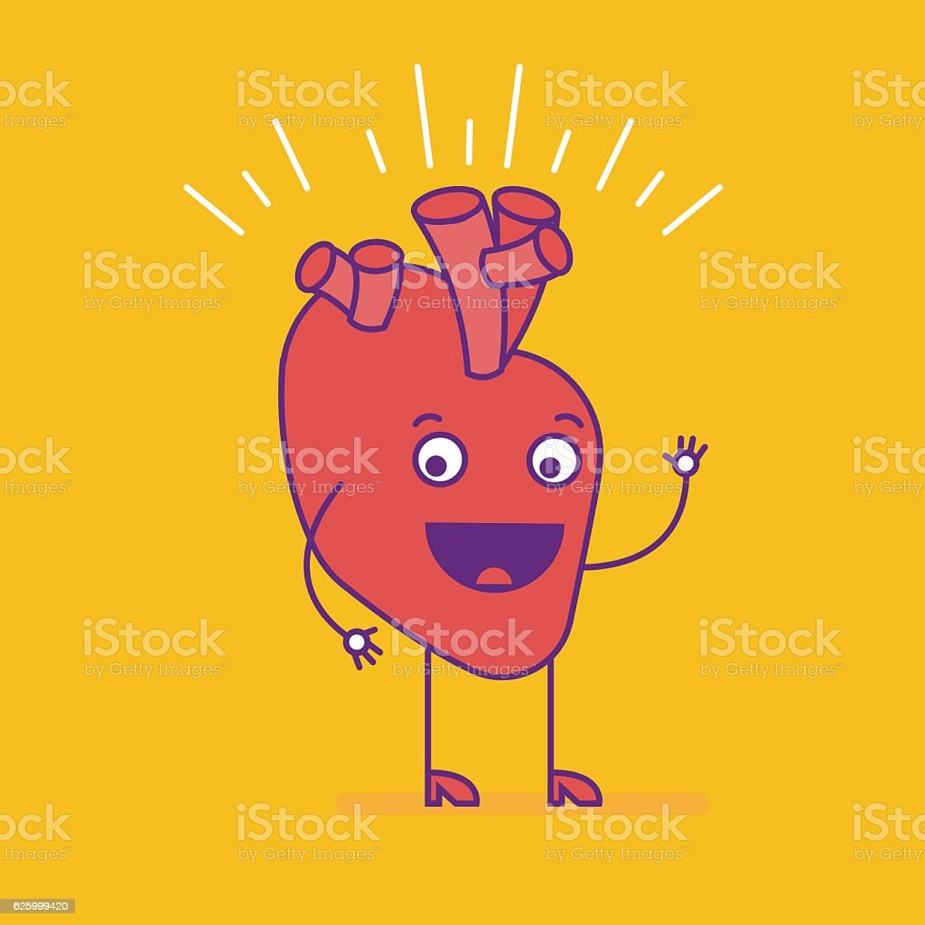 Happy smiling heart. Cheerful cartoon character vector art illustration