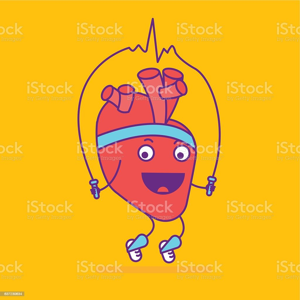 Happy Smiling Heart Symbol Cheerful Cartoon Character Stock Vector