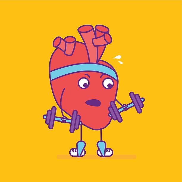 bildbanksillustrationer, clip art samt tecknat material och ikoner med happy smiling heart symbol. cheerful cartoon character - gym skratt