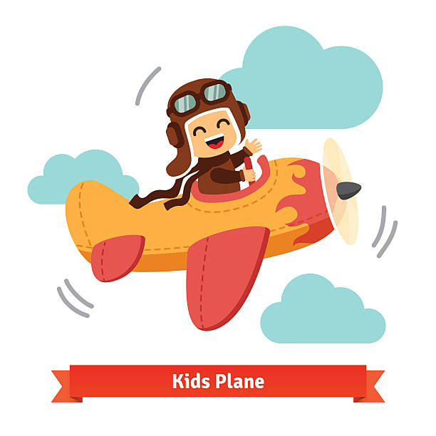 happy smiling kid flying plane like a real pilot - google stock illustrations