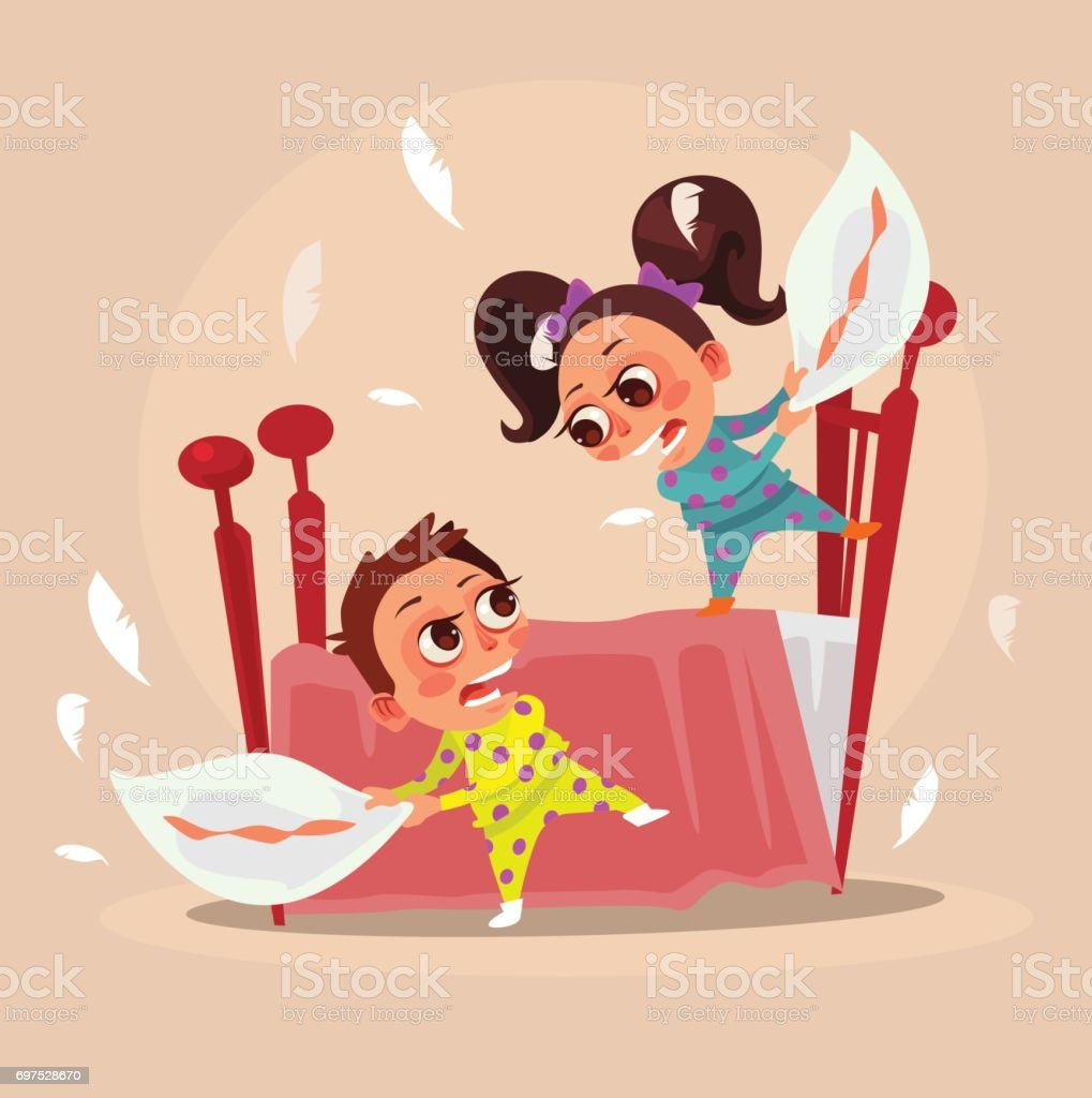 Happy smiling little children brother boy and sister girl characters fight with pillows vector art illustration