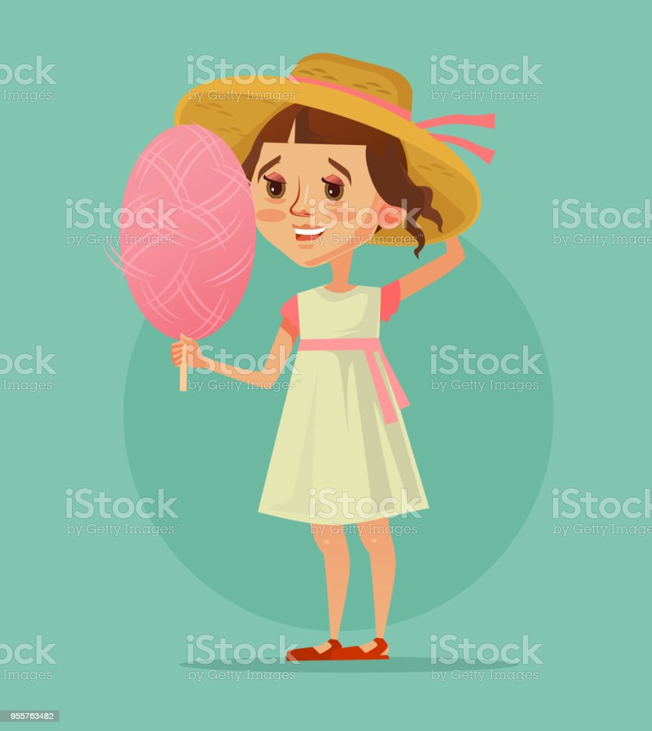 Heureux Souriant Petite Fille Personnage Mascotte Manger Rose Barbe