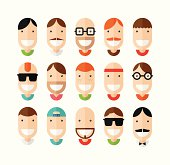 Happy smiling male faces set, flat design, vector illustration
