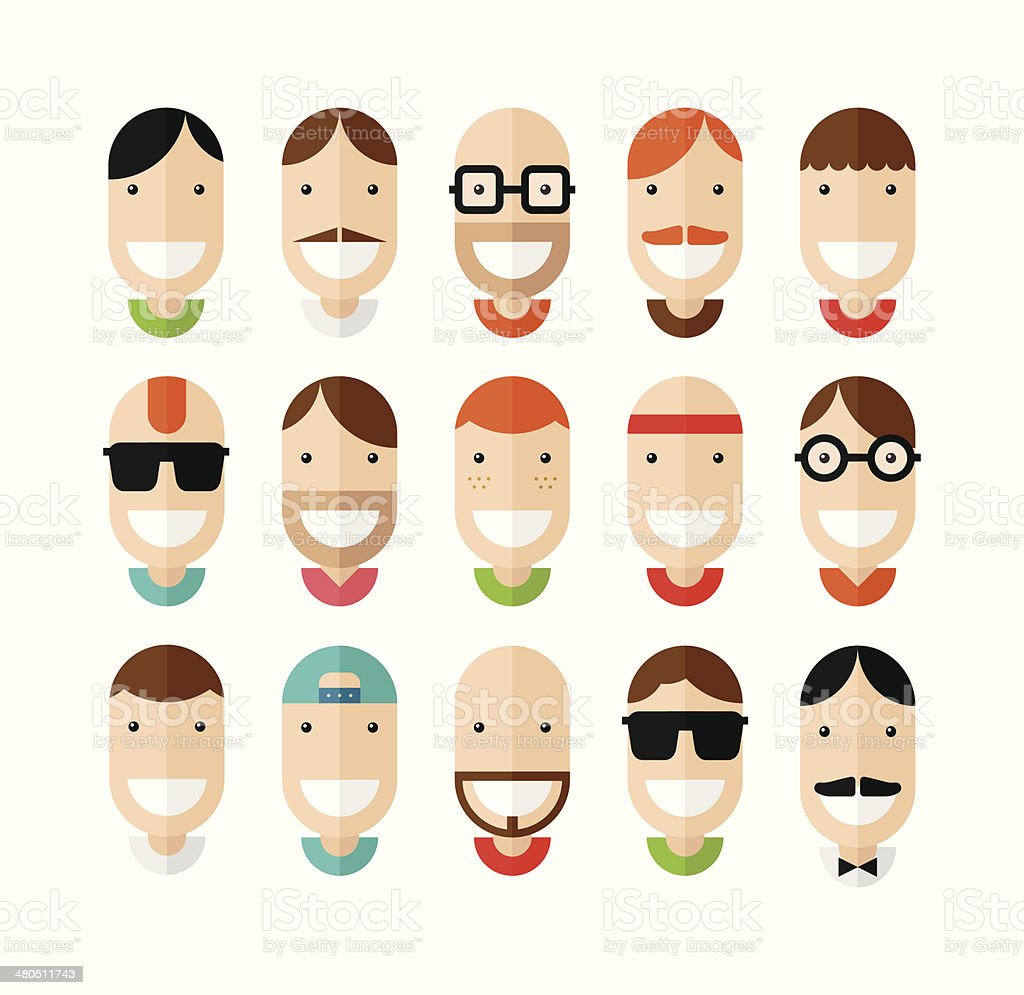 Happy smiling male faces set vector art illustration