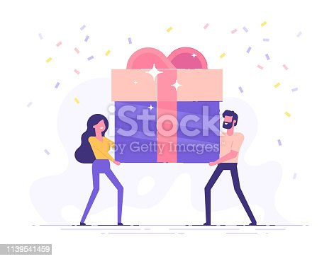 Happy smiling man and woman are carrying a large gift box. Bonus or special offer. Present. Modern vector illustration.