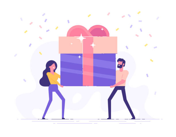 illustrazioni stock, clip art, cartoni animati e icone di tendenza di happy smiling man and woman are carrying a large gift box. bonus or special offer. present. modern vector illustration. - bonus