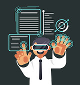 Happy smiling man character in virtual reality glasses. Modern technology concept. Vector flat cartoon graphic design isolated