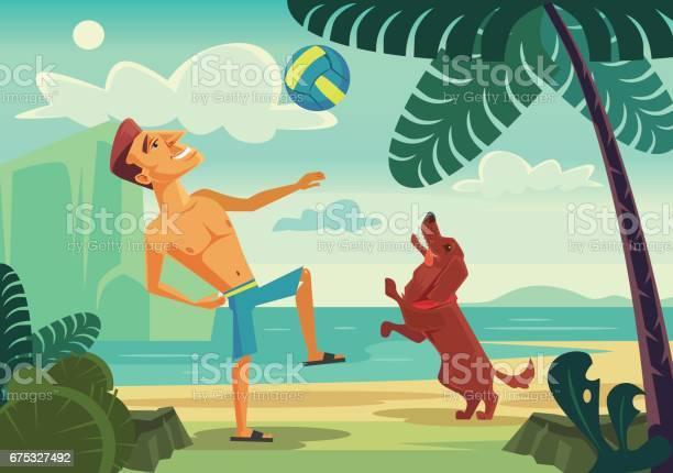 Happy smiling man character playing ball with his cheerful dog on the vector id675327492?b=1&k=6&m=675327492&s=612x612&h=bzfs50rnib nmmzaqkggxxitpwruyqbzpssn0kcmota=