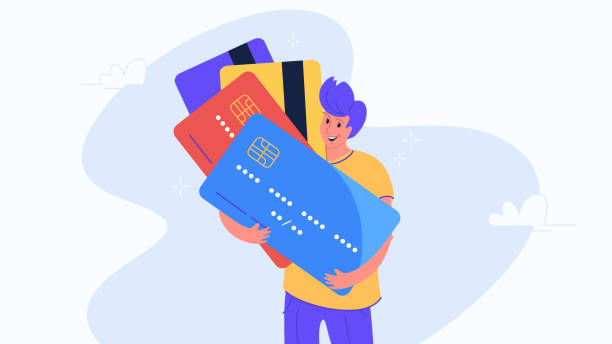 Happy smiling man hugging biggest credit cards Happy smiling man hugging biggest credit cards. Flat modern concept vector illustration of people who use credit and debit bank card for payment. Casual consumer with plastic cards on white background credit and credit cards stock illustrations