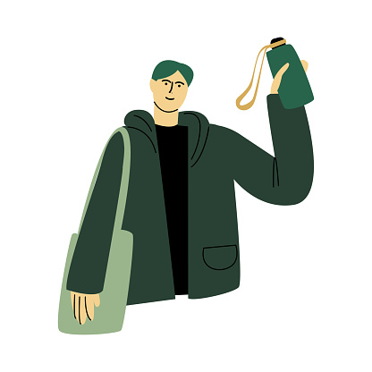 Happy smiling man in a green jacket standing with the eco bag and green bottle. Vector illustration in cartoon style.