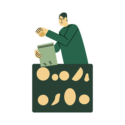 Happy smiling man in a green shirt packs food into an eco bag. Vector illustration in cartoon style.