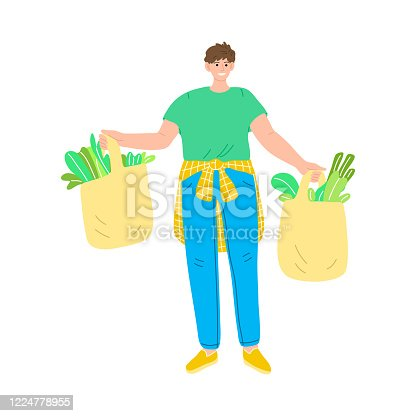 Happy smiling man in a green t-shirt standing with bags of fresh vegetarian food. Vector illustration in cartoon style.