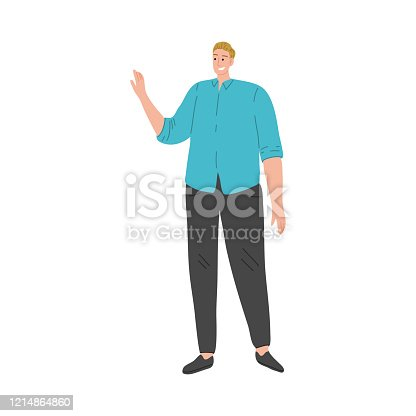 Happy smiling man in blue t-shirt standing and gesturing by hand. Vector illustration in flat cartoon style.
