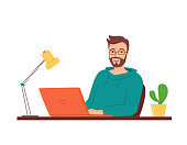istock Happy smiling man in glasses sits at a table with a laptop. Concept of work, training, retraining, courses via the Internet, e-learning. An employee at work in the office. Vector illustration 1284428575