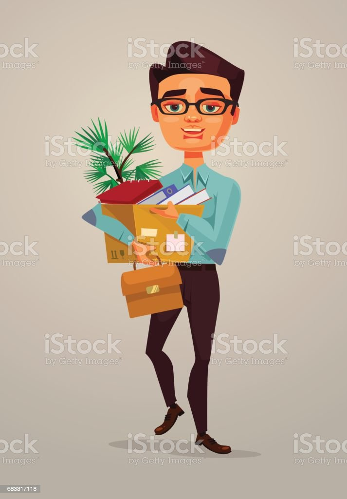 Happy smiling man office worker character going to new job royalty-free happy smiling man office worker character going to new job stock vector art & more images of achievement