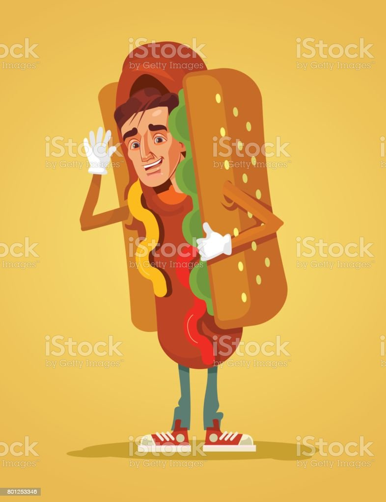 Happy smiling man promoter character mascot dressed in hot dog suit vector art illustration