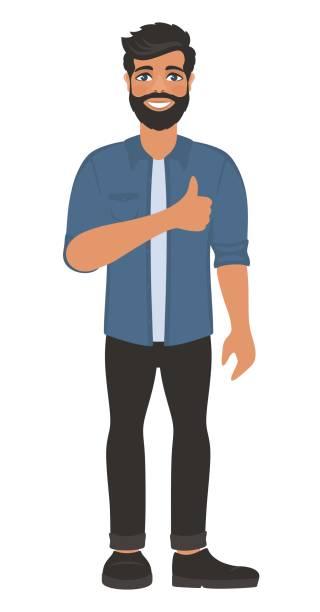 ilustraciones, imágenes clip art, dibujos animados e iconos de stock de el hombre sonriente feliz muestra los pulgares arriba. - ojos azules