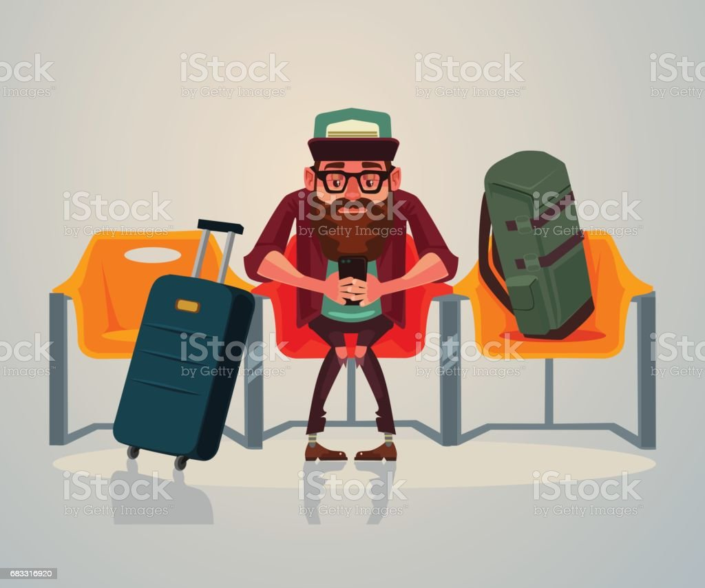 Happy smiling man tourist character waiting transport in waiting room on station and relaxing using phone internet happy smiling man tourist character waiting transport in waiting room on station and relaxing using phone internet - immagini vettoriali stock e altre immagini di adulto royalty-free