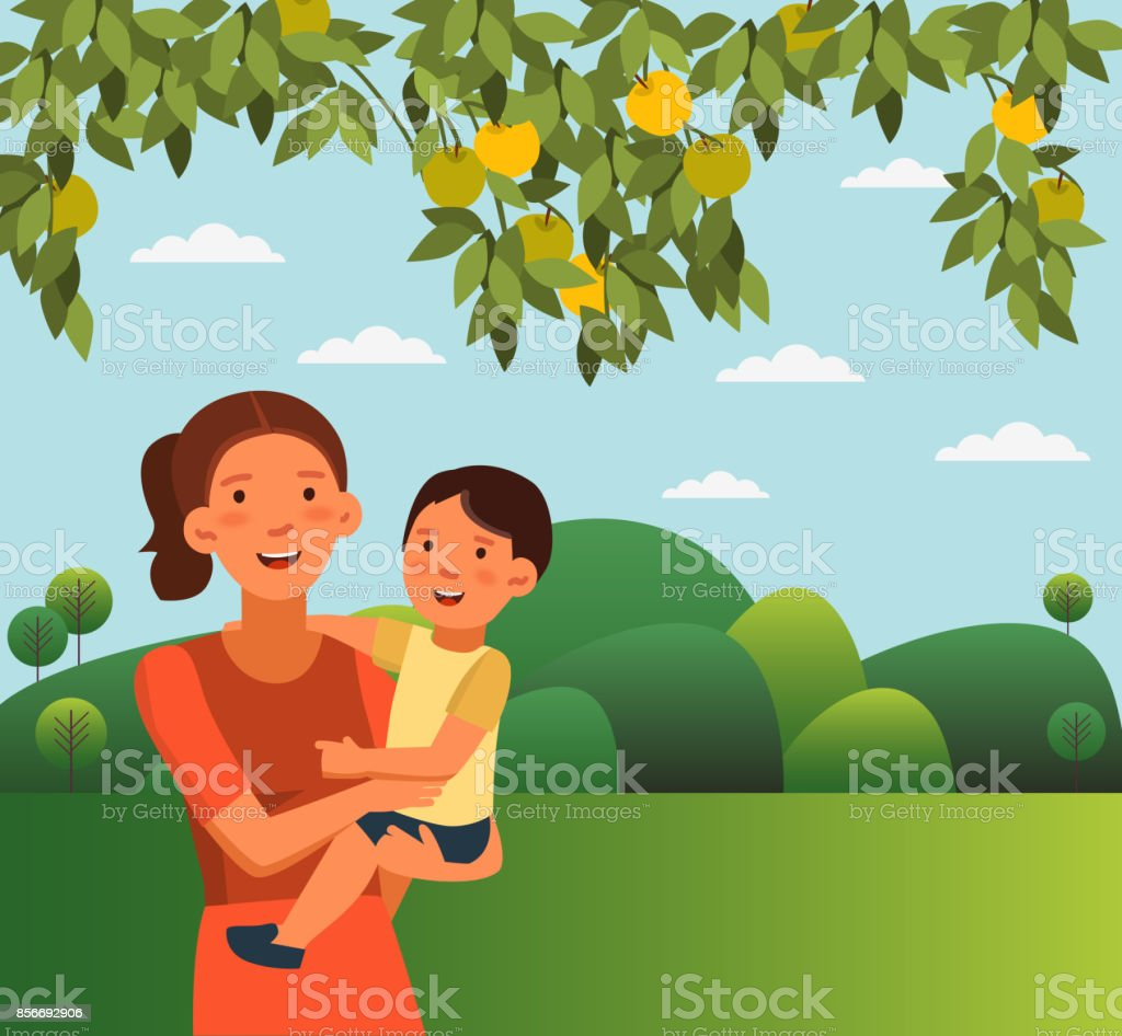 Happy, smiling mom holding her baby boy in her arms. Happy family having fun in the garden. Cute boy and young woman. Summer landscape background vector art illustration