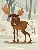 Happy smiling moose character mascot walking forest