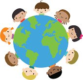 Vector illustration – Happy smiling multicultural kids around the world.