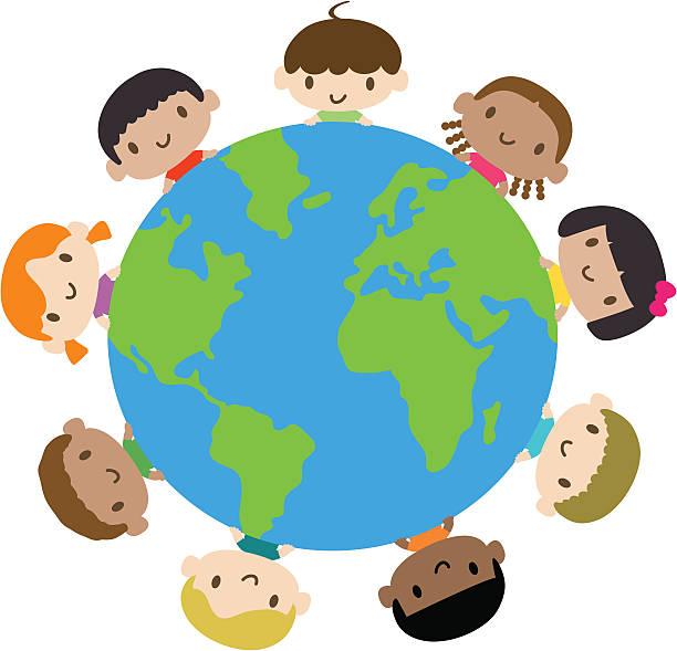 ilustrações, clipart, desenhos animados e ícones de feliz sorrindo multicultural de crianças em todo o mundo - dia das crianças