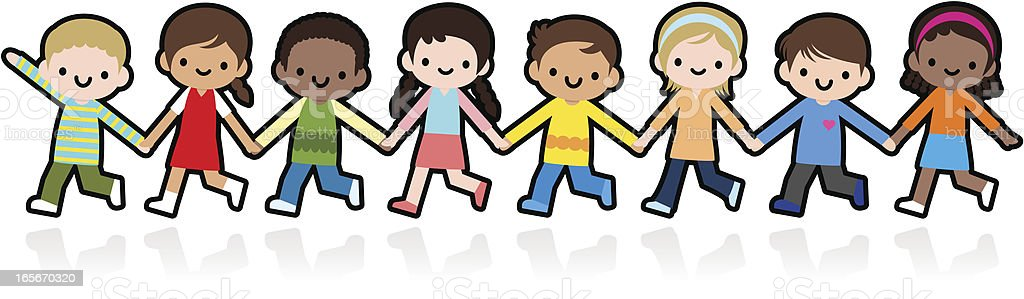 Happy Smiling Multicultural Kids Holding Hands And Playing royalty-free happy smiling multicultural kids holding hands and playing stock vector art & more images of a helping hand