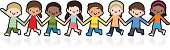 Vector illustration – Happy Smiling Multicultural Kids Holding Hands And Playing.