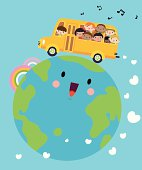 Vector illustration – Happy Smiling Multicultural Kids On School Bus.