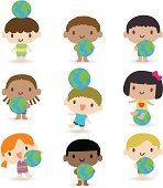 Vector illustration – Happy smiling multicultural kids with the earth.