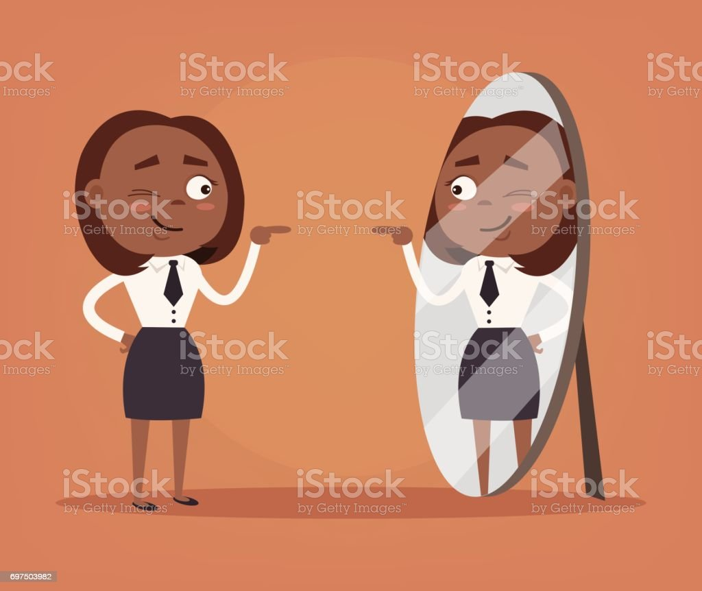 Happy smiling narcissistic black African American business woman office worker character looks at mirror vector art illustration