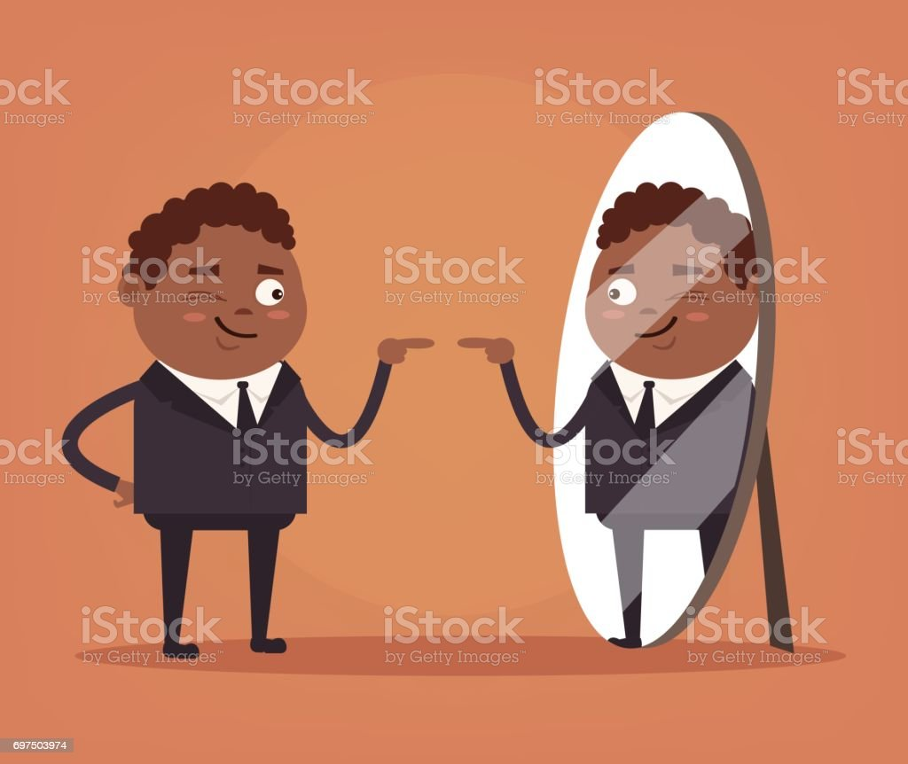 Happy smiling narcissistic black African American businessman office worker character looks at mirror vector art illustration