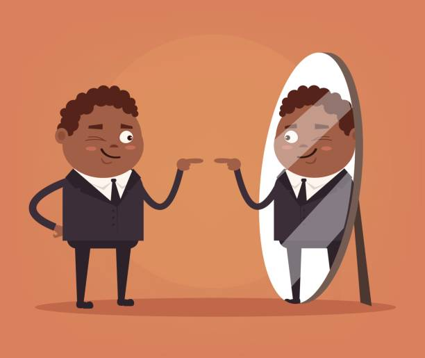 happy smiling narcissistic black african american businessman office worker character looks at mirror - mens fashion stock illustrations, clip art, cartoons, & icons
