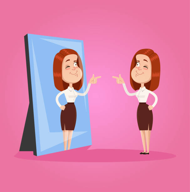 illustrazioni stock, clip art, cartoni animati e icone di tendenza di happy smiling narcissistic egoistic business woman office worker character looks at mirror and pointing finger to reflection. self support cheer up motivation concept. vector flat graphic design isolated element illustration - woman mirror