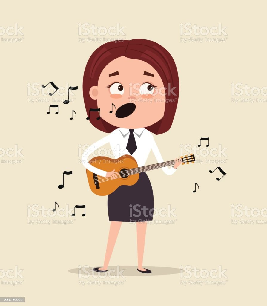 Happy smiling office worker business woman character sing song and play guitar on corporate event in club vector art illustration