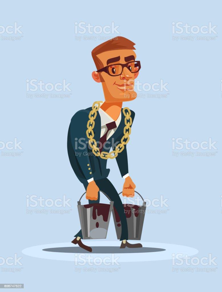 Gelukkig lachend oliebaron zakenman karakter dragen manden van olievectorkunst illustratie