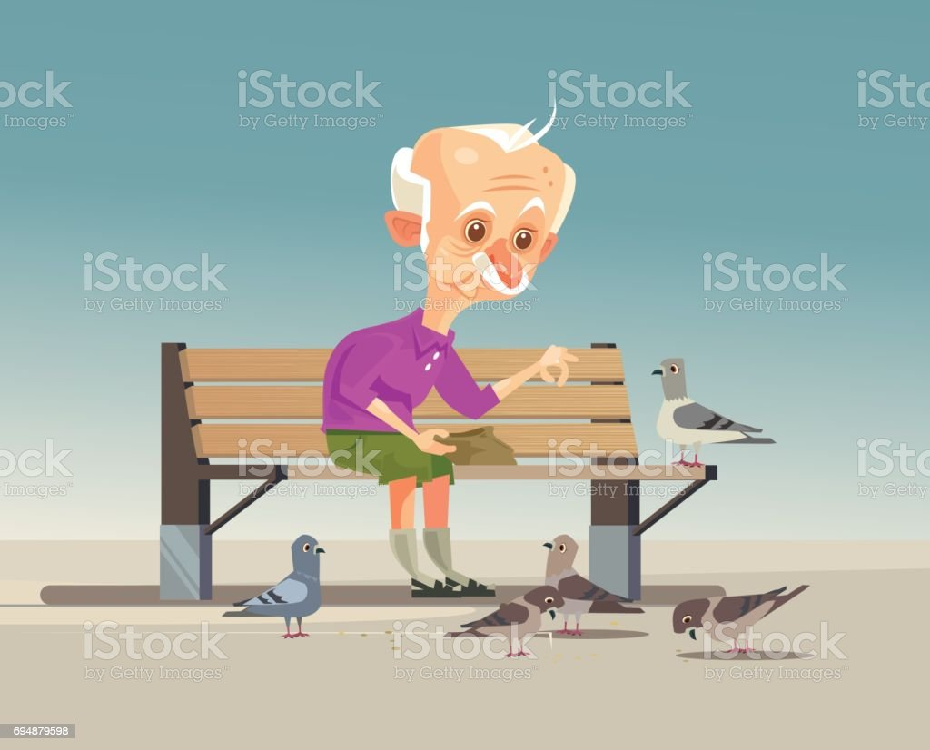 Happy smiling old grandfather character feeding doves vector art illustration