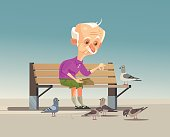 Happy smiling old grandfather character feeding doves