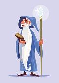 Happy smiling old magician character with white beard hold magic book