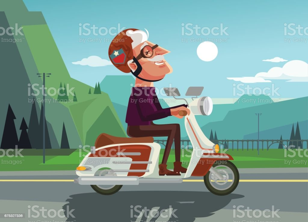 Happy smiling old man character drive scooter vector art illustration