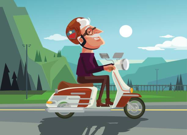 happy smiling old man character drive scooter - old man on bike stock illustrations, clip art, cartoons, & icons