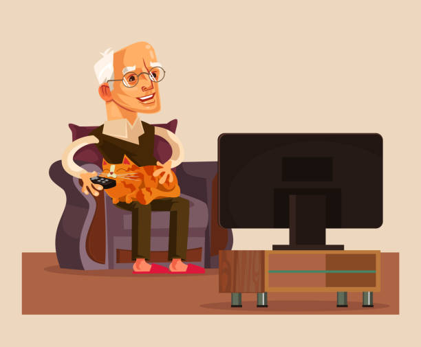 happy smiling old man grandpa watch tv show - old man sitting chair clip art stock illustrations, clip art, cartoons, & icons