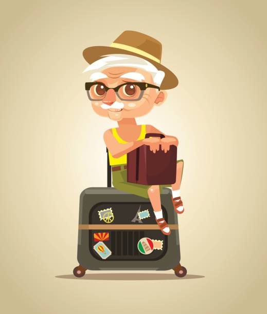 happy smiling old tourist grandfather character sitting on bags - old man glasses silhouettes stock illustrations, clip art, cartoons, & icons