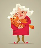 Happy smiling old woman character hold cat