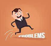 Happy smiling optimistic businessman office worker character jump over problems