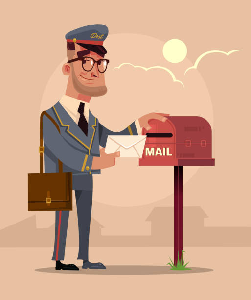 happy smiling postman mailman character put envelope letter in house mail box mailbag. delivery service concept flat cartoon design graphic isolated illustration - postal worker stock illustrations